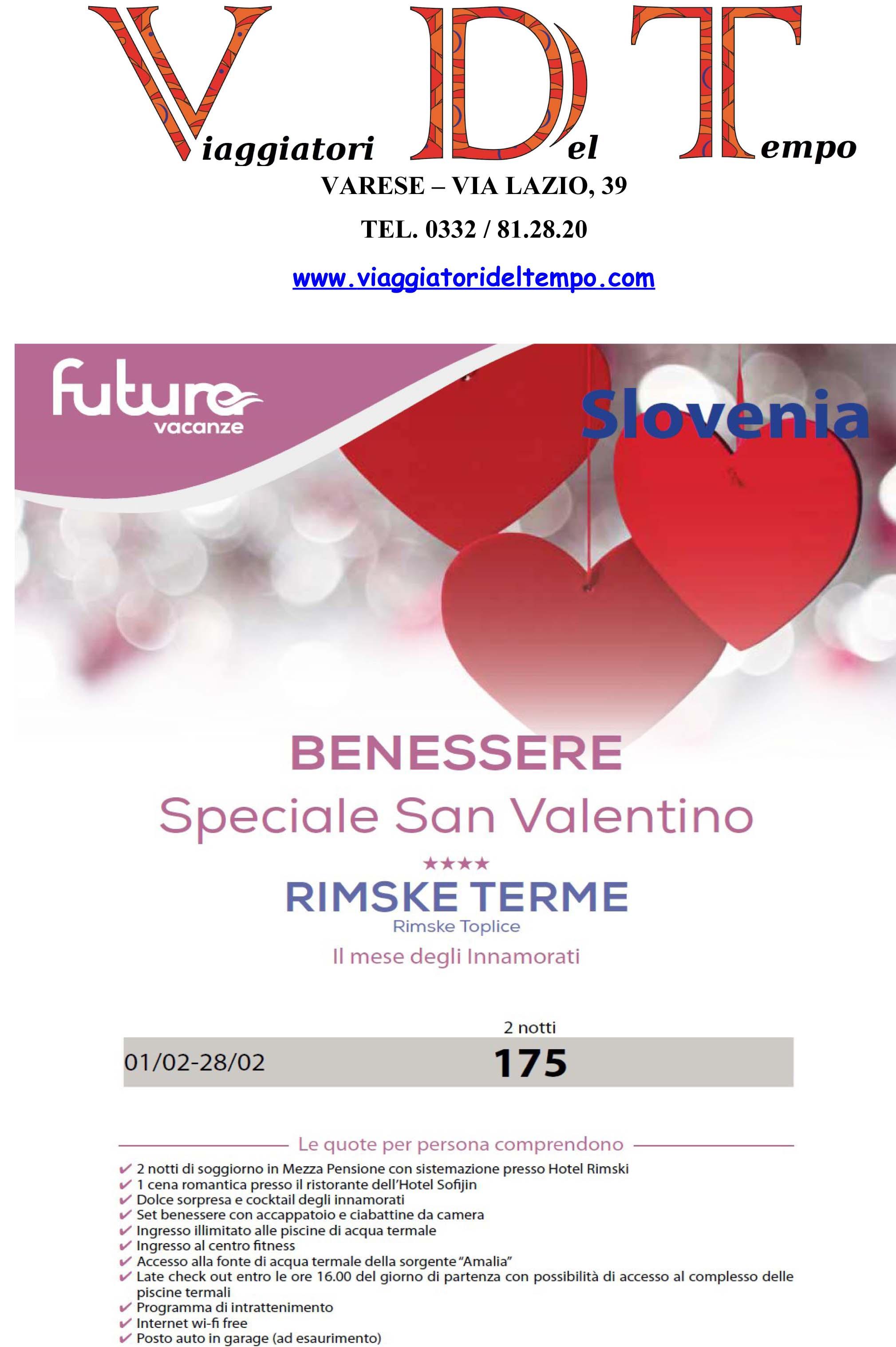 agenzia viaggi varese BENESSERE SAN VALENTINO SLOVENIA
